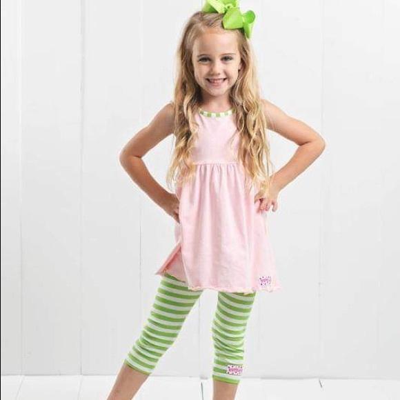 Ruffle Girl Other - Ruffle Girl Light Pink/Green Tank & Legging Capri